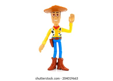 BANGKOK, THAILAND - June 22, 2014 : Woody toy character from Disney Toy Story animation. There are toy sold as part of McDonald's Happy meal.