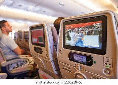 BANGKOK, THAILAND - JUNE 22, 2015: seat back screens in economy class on Emirates Airbus A380-800.