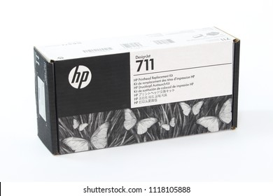 BANGKOK, THAILAND- June 22, 2018 : Ink display at a local retail location in Thailand. HP ink jet Printer and Ink Supplies, HP Printhead No.711 Black and Color cartridge, Ues for Printer HP T120 T52