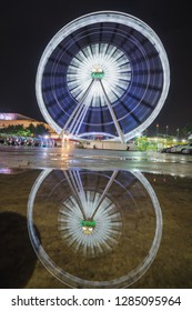 BANGKOK , THAILAND - June 22 2018 : Ferris wheel at night market Asiatique