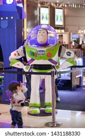 Bangkok, Thailand - June 22, 2019 : A photo of Buzz Lightyear, a famous character from Toy Story (2019) movie in front of theatre to promote Toy Story 4.