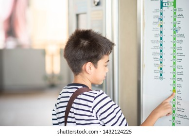 BANGKOK, THAILAND - JUNE 22, 2019: Student Passenger use BTS ticket to entrance in subway station.