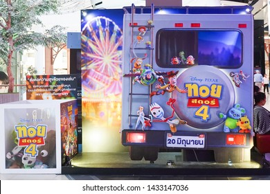 Bangkok, Thailand - June 22, 2019 : A photo of Toy Story mascot characters (from left to right) Jessie, Woddy and Buzz Lightyear. Toy Story character is displayed in front of theatre to promote movie.