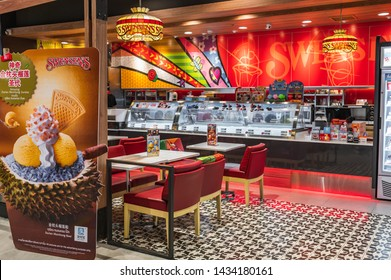Bangkok, Thailand June 22, 2019. Swensen's ice cream sundae shop at The Market mall in downtown Bangkok. Swensen's is a brand from US that established itself in Thailand for more than 20 years.