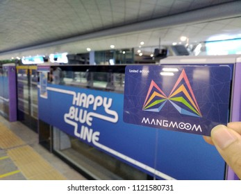 Bangkok Thailand, June 22nd 2018, Mangmoom (Spider) Card is latest travelling card, combination of MRT, Airport Link, Bus tickets of Thailand, card shown at train gate of blue line MRT train station