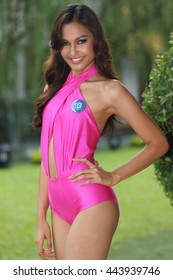 Bangkok, Thailand - June 23, 2016 : Profiling of contestants of Miss International Thailand 2016, in Sexy Pink Swim Suit at Photalai Leisure Park
