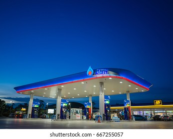 Bangkok, Thailand - June 23, 2017: PTT gas station. PTT Public Company Limited or simply PTT is a Thai state-owned SET-listed oil and gas company.Formerly known as the Petroleum Authority of Thailand.