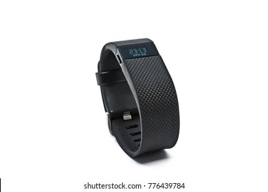 Bangkok, Thailand - June 23, 2017 : Fitbit Charge HR Wireless Activity Wristband black color on white background. Fitbit is an American Wearable manufacturer company.