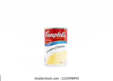 Bangkok, Thailand - June 23, 2018 : A can of Campbell's cream of chicken soup. Campbell's is an american producer of canned soups and related products, it was founded in 1869. Editorial use only.