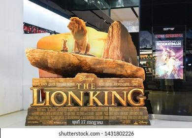 Bangkok, Thailand - June 23, 2019 : A photo of movie 3D standee of the Lion King (2019) movie promote in front of the theatre. The Lion King will be in theatre 17 July 2019.