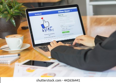 BANGKOK ,THAILAND - JUNE 25, 2016: Login Screen Facebook icons on Apple macbook pro. largest and most popular social networking site in the world.