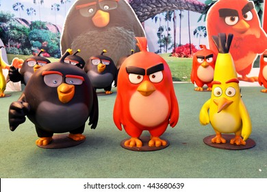 Bangkok, Thailand - June 25, 2016: 3 Angry Birds Bomb, Red and Chuck Models To Promote The Movie