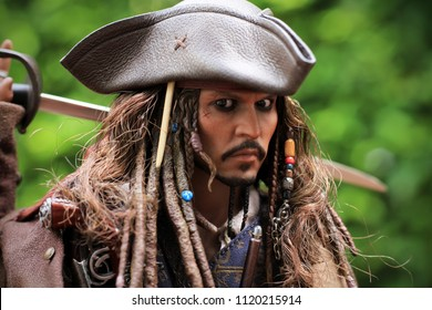 BANGKOK THAILAND - JUNE 25, 2018 : Johnny Depp as the Captain Jack Sparrow,At Home in Bangkok, Thailand.