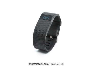 Bangkok, Thailand - June 26, 2017: Fitbit Charge HR Wireless Activity Wristband black color on white background. illustrative and editorial.