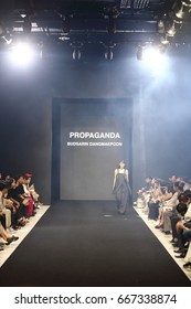 "Bangkok, Thailand - June 26, 2017 ; Fashion Show ""PASTRAPORN18+ FASHION GRADUATE SHOWCASE"", at Zen Gallery, Performance moving lighting on construction light beam ray downward"