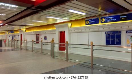 Bangkok, Thailand – June 26, 2020 : Name Station, Sign in Subway Station of Architecture Thai Style, MRT Sanam Chai Station, MRT Blue Line Subway Station, Bangkok.