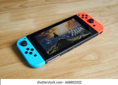 Bangkok, Thailand - June 27, 2017 : Nintendo Switch showing its screen with The Legend of Zelda game.