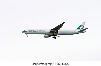 Bangkok, Thailand - June 27, 2018: Cathay Pacific airways, airline from Hong Kong flying over Bangkok sky