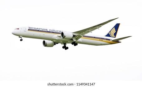 Bangkok, Thailand - June 27, 2018: Airplane of Singapore Airlines  flying over Bangkok white sky