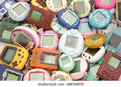 BANGKOK , THAILAND - June 28, 2017:a lot of virtual pet. virtual pet toy 90s.