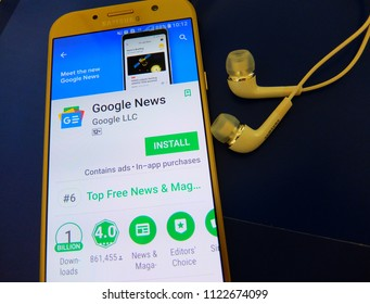 Bangkok, Thailand. June 28, 2018: google news application on smartphone screen.