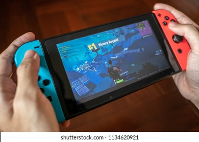 Bangkok, Thailand - June 28, 2018 : Nintendo Switch showing its screen with Fortnite game.
