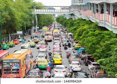BANGKOK, THAILAND - JUNE 28, 2019 :Traffic jam rush hour in rain cloud day  and Friday at the end of the month at  BTS chatuchak station phahonyothin road chatuchak Bangkok, Thailand.