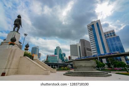 Bangkok, Thailand - June 29, 2016: Statue of King Rama VI facing the downtown center of Bangkok