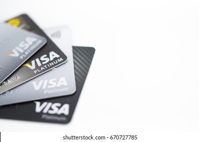 BANGKOK, THAILAND JUNE - 29 2017: many credit cards isolate on white background (business loan concept, selective focus)