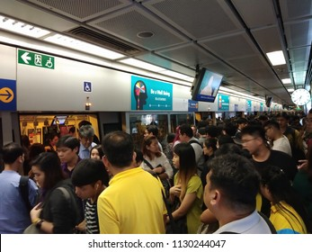 BANGKOK, THAILAND - JUNE 29, 2018: People walking to the inside MRT subway train arrived in the rush hour in Bangkok Thailand.