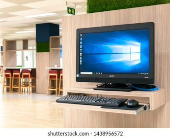 BANGKOK, THAILAND - June 29, 2019 : computer showing its screen Microsoft Windows 10 for Search for information At Rajamangala University of Technology Thanyaburi Library.