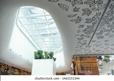 Bangkok, Thailand - JUNE 29, 2019_Decoration of the Open House, trendy new co-living space on top floor of Central Embassy, new luxury Shopping mall located in heart of Bangkok, Thailand