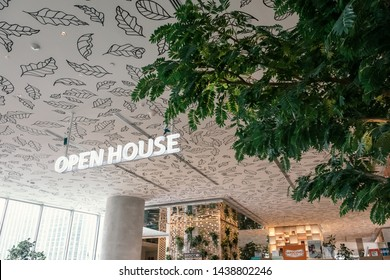 Bangkok, Thailand - JUNE 29, 2019_Sign of the Open House, the trendy new co-living space on the top floor of Central Embassy, a new luxury Shopping mall located in the heart of Bangkok, Thailand.