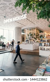 Bangkok, Thailand - JUNE 29, 2019_Tourists or customers visit the Open House, trendy new co-living space on top floor of Central Embassy, new luxury Shopping mall located in heart of Bangkok, Thailand
