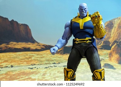 Bangkok, Thailand: June 29,2018: The setting of Thanos action figure from Marvel comics