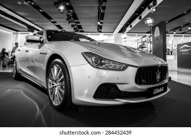 BANGKOK, THAILAND - June 3, 2015 : Executive car Maserati Ghibli at The Emquartier Shoping Mall on June 3, 2015 in Bangkok, Thailand.