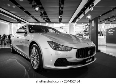 BANGKOK, THAILAND - June 3, 2015 : Executive car Maserati Ghibli at The Emquartier Shoping Mall on June 3, 2015 in Bangkok, Thailand.