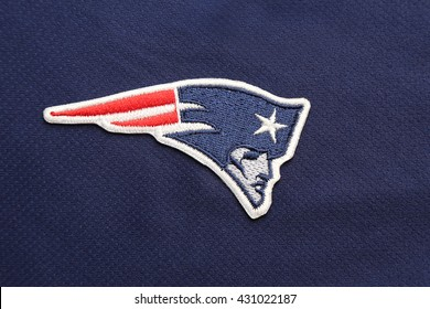 BANGKOK, THAILAND -JUNE 3, 2016: The  Logo of  New England Patriots on the textile on June 3,2016 in Bangkok Thailand.