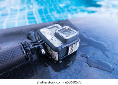 BANGKOK, THAILAND . JUNE 3 ,2017. GoPro Hero 5 Black with accessories and water at the pool. Gopro camera is popular action cam in the world .