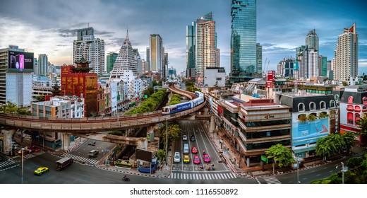 Bangkok, Thailand - June 3 2018: Silom, downtown Bangkok.