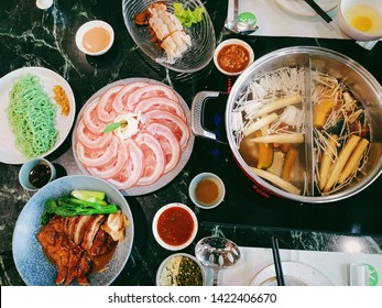 BANGKOK, THAILAND - June 3, 2019:  Set Meat Menu Sukiyaki, Roast Duck and Hot Pot, MK Live Suki Restaurant.