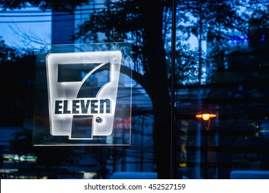 BANGKOK THAILAND - JUNE 3: 7-eleven at twilight time, on Sathorn Tai Road in Bangkok, Trademark Name & Sign, on  June 3, 2016 in Bangkok, Thailand.