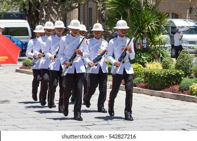 BANGKOK, THAILAND - JUNE 30, 2013: The Grand Palace in Bangkok, Parade of the king's Guards at the Grand Palace