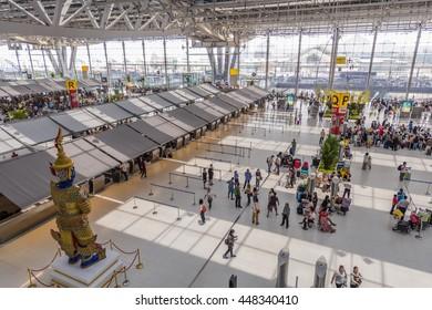 BANGKOK, THAILAND - JUNE 30, 2016 : aerial shot looking down on sculpture and interior of Suvarnabhumi Airport is one of two international airports serving Bangkok.