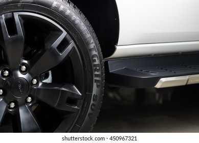 BANGKOK, THAILAND - JUNE 30, 2016 : Goodyear Efficientgrip tires install in Ford Everest 2016 model, latest SUV form Ford in Thailand