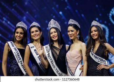 Bangkok, Thailand - June 30, 2018: Sophida Kanchanarin, center,  is crowned as later Miss Universe Thailand 2018 at Royal Paragon Hall, who later represented Thailand at Miss Universe 2018.