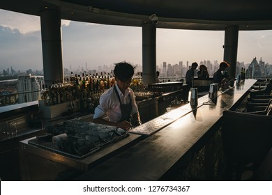 BANGKOK, THAILAND - JUNE 30, 2018: View in sunset time of Cielo Sky Bar & Restaurant that is the most famous rooftop bar in bangkok that tourist who want to see top view of Bangkok city have to go.