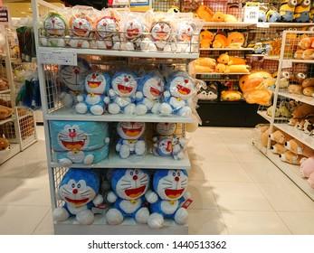 Bangkok, Thailand. June 30, 2019 - Doraemon toy for kids displayed in shopping mall. Doraemon cartoon is Japanese manga series written and illustrated by Fujiko F. Fujio.