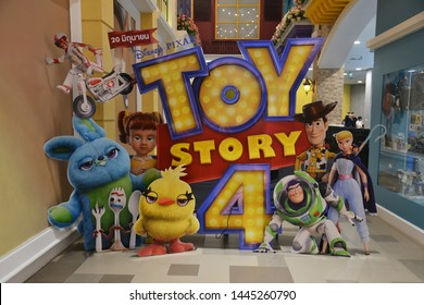 Bangkok, Thailand - June 30, 2019: Beautiful Standee of A Walt Disney Pixar Animation Movie Toy Story 4 display at the theater. Main Characters are Sheriff Woody, Buzz Lightyear, Jessie and Bo Peep.