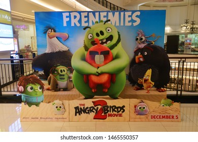 Bangkok, Thailand – June 30, 2019: The Standee of a computer-animated comedy film based on Rovio Entertainment's Angry Birds video game series The Angry Birds Movie 2 Displays at the Theater